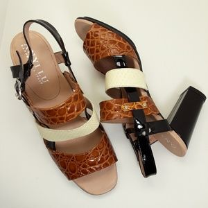 Anyi Lu Leather Block Heel Strappy Sandals